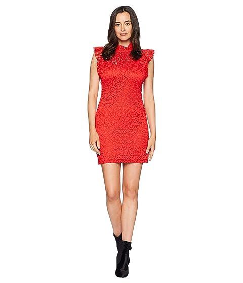 ALEXIA ADMOR Cap Sleeve Lace Sheath, Fiery Red