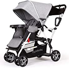 Best Double Stroller lux Sit N Stand Baby Pushchair Tandem Lightweight Stroller Compact Vista 2kid Pram Twin Toddler Citi Urban Strollers (Classic Gray) Review