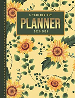 5-Year Monthly Planner: Vintage Sunflower Flower Pattern - Floral Art / Dated 8.5x11 Calendar Book With Whole Month on Two...