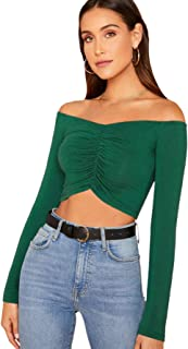 Best green off shoulder top Reviews