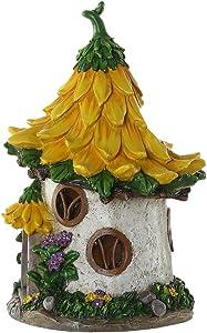 Ivy Home - Estatua de casa de hadas, diseño de girasol, color amarillo
