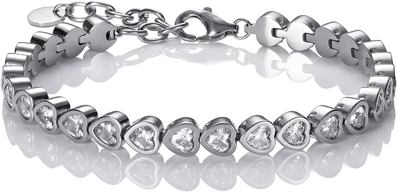 Namana Heart Tennis Bracelet Free Shipping Cheap Bargain Gift Steel Kansas City Mall Women. Stainless for