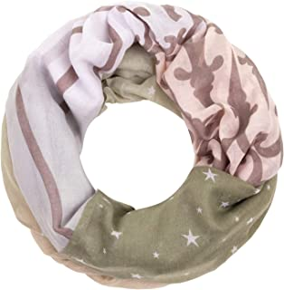 CASPAR SC470 Damen Herbst Winter Vintage Loop Schal mit Sterne Muster weich warm