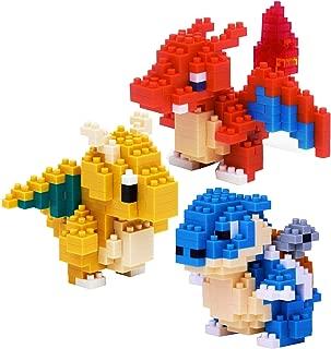 Nanoblock Building Blocks Pokemon Charizard (200pcs), Dragonite (190pcs) & Blastoise (220pcs) Gift Set Bundle - 3 Pack