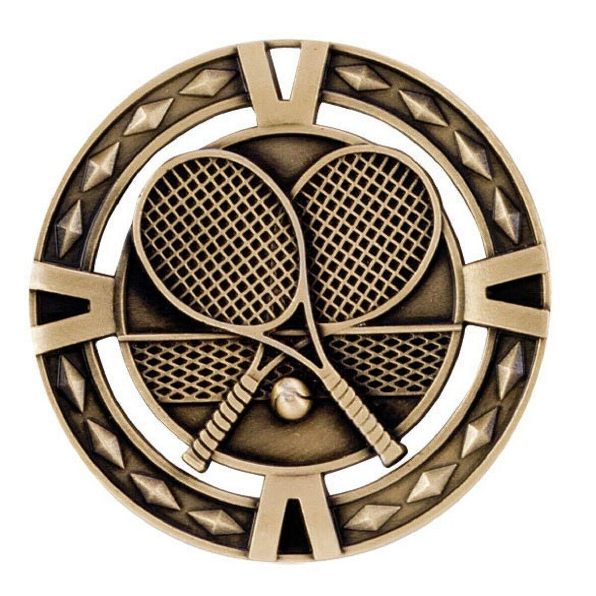 Gold V-Tech Tennis Medal Ribbon Choice C4 Personalised Engraved