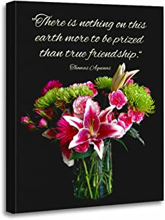 "TORASS Canvas Wall Art Print Friend Stargazer Bouquet Friendship Thomas Aquinas Lily Carnations Artwork for Home Decor 16"" x 20"""