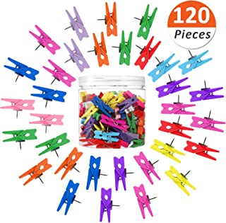 120 Pieces Thumbtack Clips, Push Pin Clips, Colorful Wooden Paper Clips with Pin, Wooden Clips for Documents, Artworks, School Projects, Photos, Notes, Paper, Cork Board, Bulletin Board