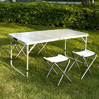 Bgdab Home Use Folding Table Picnic Camping Table 120x60cm con 4 sillas Plegables adecuadas para la Mesa de jardín al Aire Libre BBQ Picnic,A