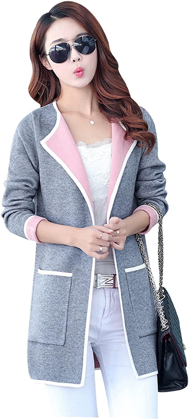 Yeokou Women's Casual Loose Open Front Mid Long Thick Knit Cardigan Sweaters