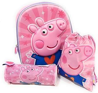 Mochila Peppa Pig 3D Infantil para niñas (31 cms) + Estuche Peppa Pig Portatodo + Bolsa Peppa Pig para Merienda
