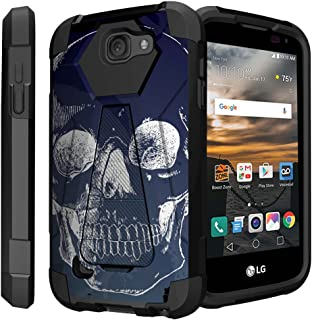 Untouchble Case for LG K3, LG LS450 (Virgin Mobile, Boost Mobile)[Traveler Series]- Dual Layer Hard Plastic Inner Silicone Stand Case - White Blue Skull