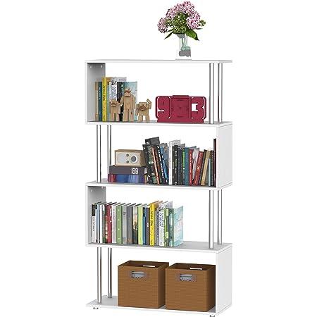 HOMCOM Libreria 145x80x30cm Madera y Metal Muebles Oficina Estanteria Estante Blanco