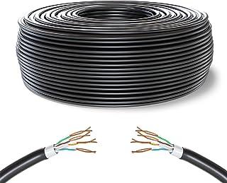 Mr. Tronic 50m Ethernet-nätverkskabel utomhus Väderbeständig | CAT6, AWG24, CCA, UTP, RJ45 (50 Meter, Svart)