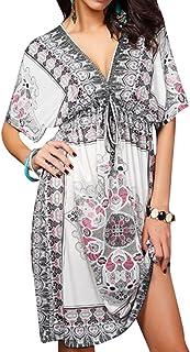 FSSE Womens Boho Print Low-Cut V-Neck Summer Beach Cover Up Evening Dress