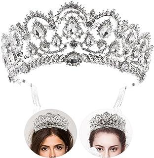 Tiara de novia con diamantes de imitación y peinetas