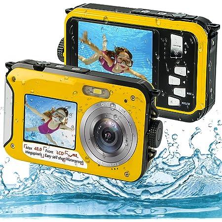 Appareil Photo Etanche Numérique, Camera sous Marine Full HD 2.7K 48MP Camera Etanche avec Double écran, Zoom Numérique 16X et Retardateur