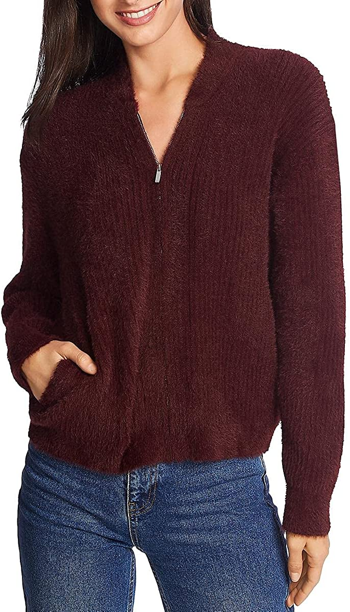 1.STATE Womens V-Neck Bubble Sleeve Pullover Sweater