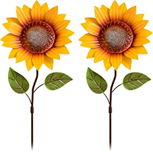 YEAHOME Metal Flower Garden Stakes, 26 Inch Shaking Head Sunflowers Yard Decor Art, Indoor Outdoor Lawn Patio Backyard Decorations, Set of 2(Yellow)