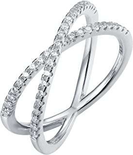 14K Gold Plated X Ring Simulated Diamond CZ Criss Cross Ring for Women