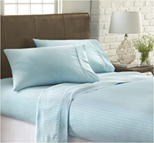 ienjoy Home Dobby 4 Piece Home Collection Premium Embossed Stripe Design Bed Sheet Set, Queen, Aqua
