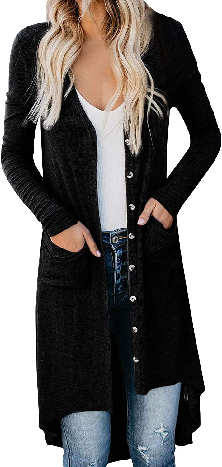 VonVonCo Cardigan Sweaters for Women Ladies Long Sleeve Pure Color Vintage Snap Button Down Knit Cardigans Outwear