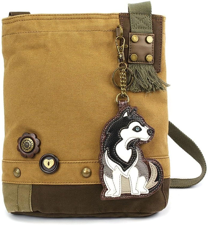 Chala Womens' Canvas Patch Crossbody Handbag Husky   Brown