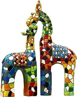 Liffy Girafe résine Statue mosaïque Style Table Ornement décoration Murale Suspendue pour Salon, Chambre à Coucher