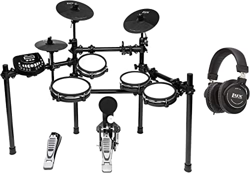 2021 LyxJam 8-Piece Electronic Drum Kit, Drum Set with Real Mesh Fabric, 448 Preloaded Sounds, 70 2021 Songs, 15-Song Recording Capacity, Choke, Kick Pad, Drum Sticks wholesale With Professional Studio Headphones outlet online sale