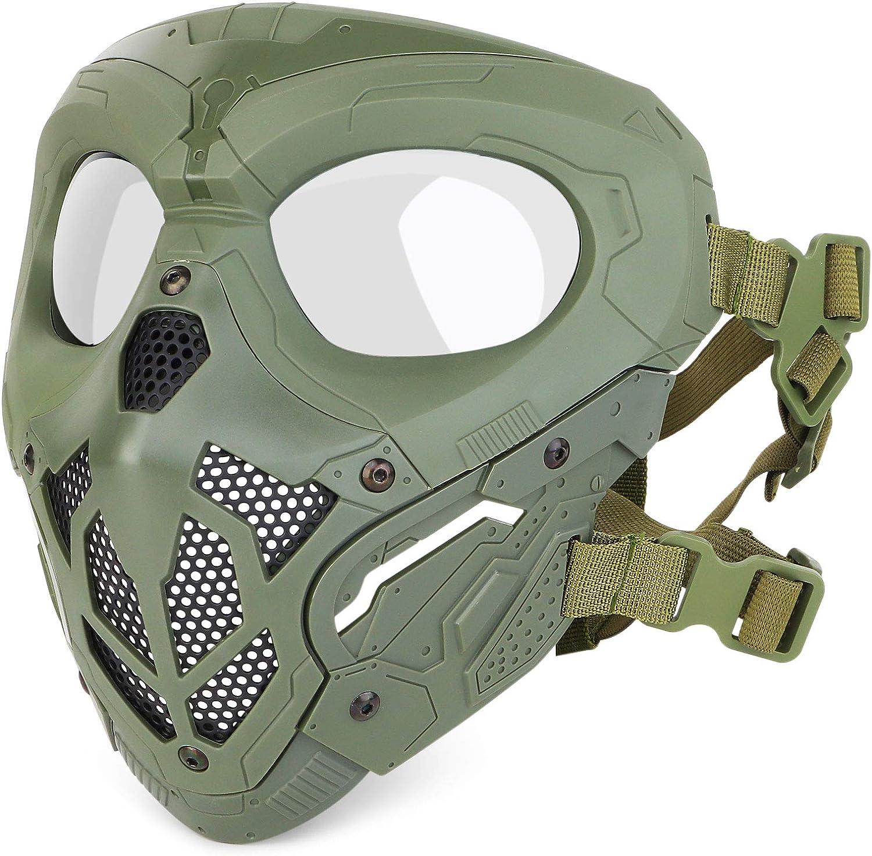HUNTVP táctica Máscara Protectora Máscara Militar de Media Cara táctica Máscara de Paintball para Hombres Airsoft CS Cosplay