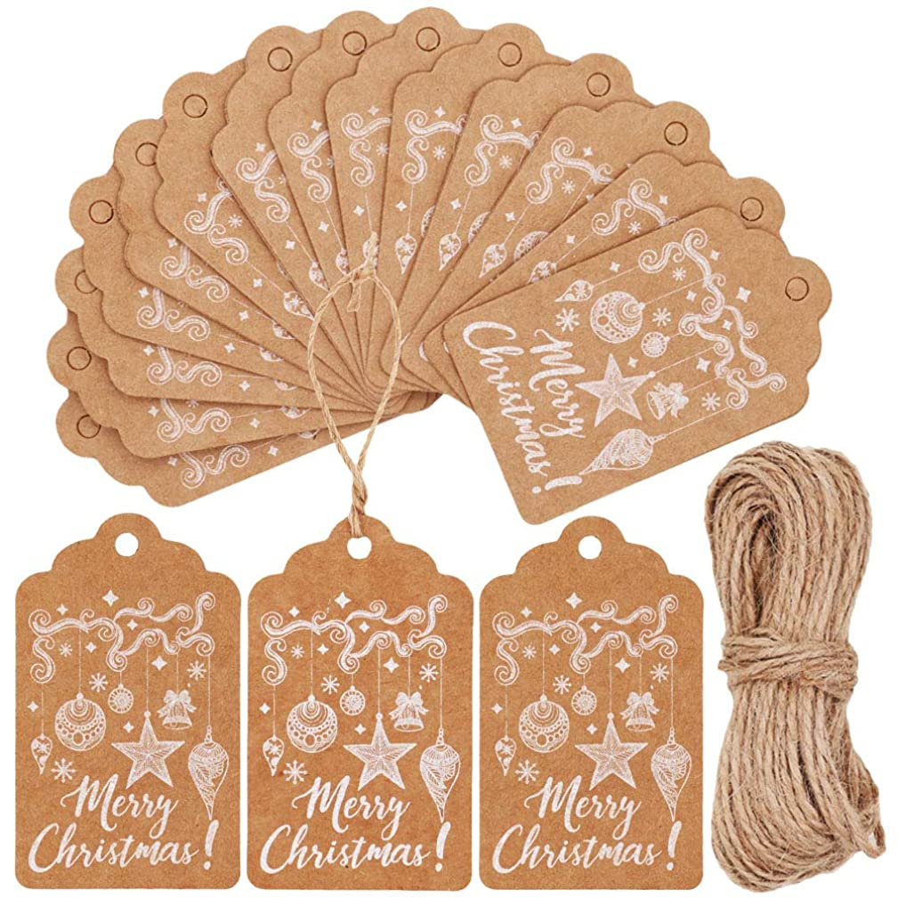 KESTAR 100pcs Kraft Paper Christmas Gift Tags with 20 Meters Twine for Christmas Present Wrap Cookie Bakery Candy Biscuit Roasting and Label Package Name Card (Style02)