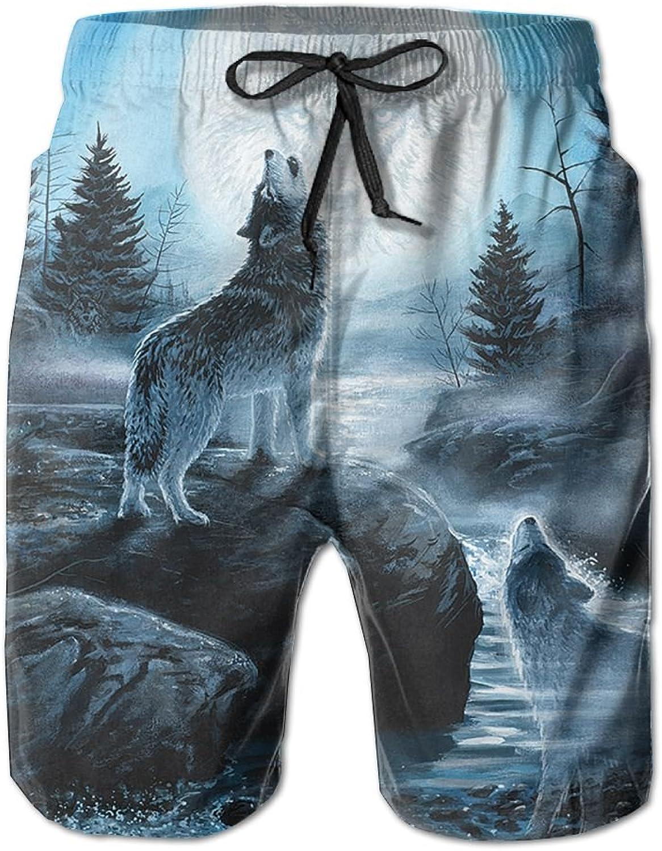 d78859b4f0 Men Howling Moon Wolf Summer Breathable Quick-drying Swim Swim Swim Trunks  Beach Shorts Cargo Shorts 130867