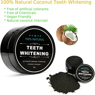 Activated Charcoal Teeth Whitening Powder – 100% Natural &Vegan Friendly Charcoal Teeth Whitening Toothpaste & Teeth Whitener Kit by Aliver®