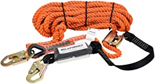WELKFORDER 50FT Vertical Lifeline Assemble Three Strand Rope Fall Protection with Rope Grab Snap Hooks Shock Absorber Fall...