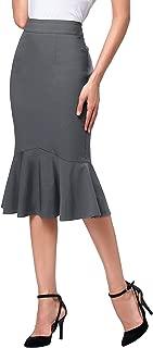 Women Elegant High Waist Mermaid Bodycon Midi Skirt