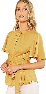 ROMWE Women's Self Tie Wist Short Sleeve Casual Chiffon Blouse Tops