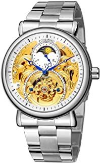 FORSINING Mens Automatic Waterproof Moon Phase Stainless Steel Wrist Watch