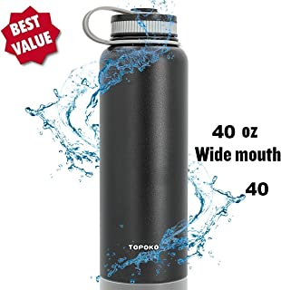 TOPOKO Wide Mouth 40 OZ Capacity Stainless Steel Vacuum Insulated Water Bottle Double Wall Design 100% Leak & Sweat Proof for Hot and Cold Beverages