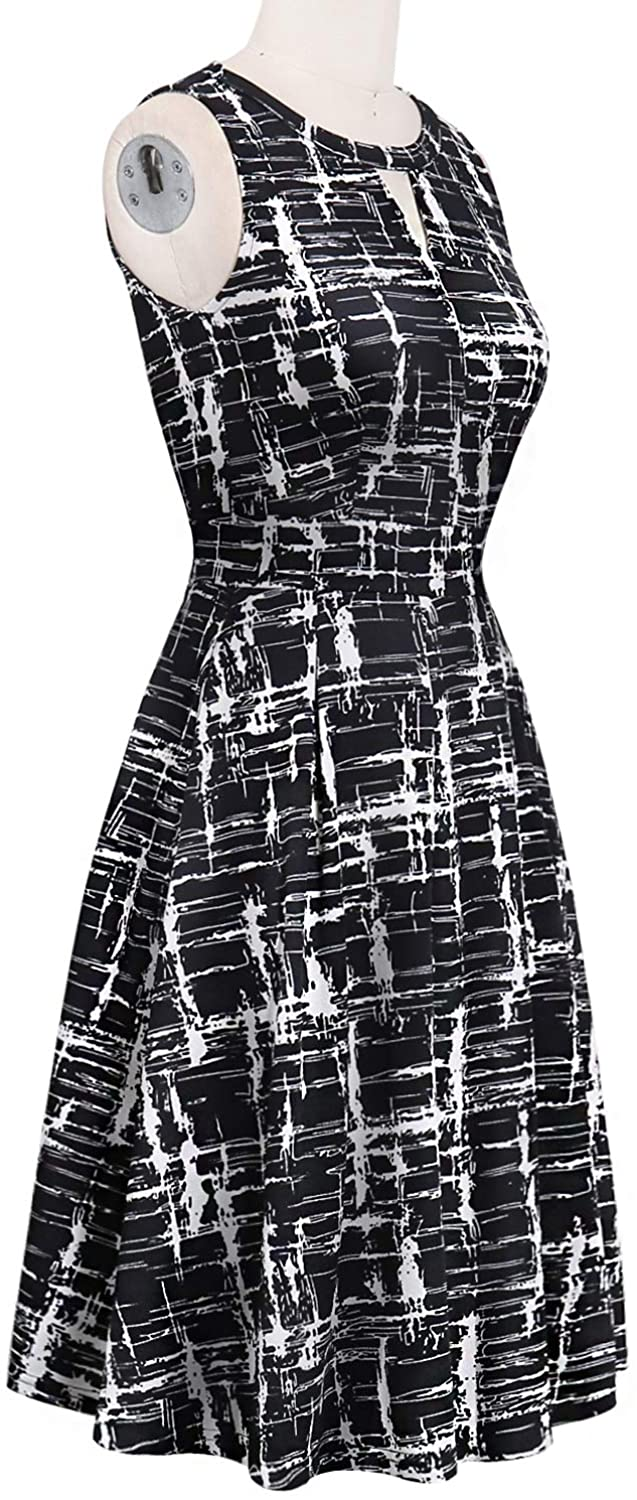 Sureple Women's Retro Sleeveless Swing Casual Work Summer Party Dress with Pockets