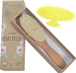 Little Tinkers World Natural Wooden Baby Hair Brush - Healthcare and Grooming for Newborns & Toddlers, Ideal for Baby Regi...