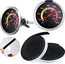 4 Pieces 7.5 Feet BBQ Gasket Smoker Grill Tape High Temp Grill Seal 2 Inch Dial Gauge Charcoal Grill Thermometer BBQ Thermometer Gauge Charcoal Grill Pit Wood Smoker Oven Temp Gauge (3 Inch Stem)