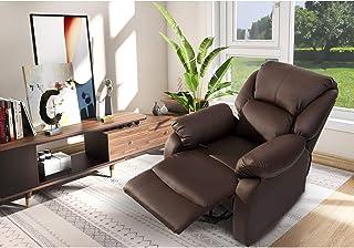 ModernLuxe Liegesessel Kunstleder Wohnzimmer Sessel Relaxsessel mit Liegefunktion Fernsehsessel Kinosessel Lesesessel in Braun, Belastbarkeit: 150 Kg