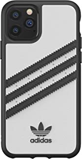 adidas Originals Compatible with iPhone 11 Pro Case, Moulded TPU Three Stripes Protective Phone Cover - White Black