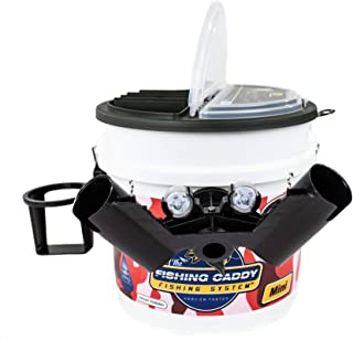 The Fishing Caddy – Fishing Bucket Storage or Bait Holder w/Tackle Box Lid, Dual Fishing Rod Holder, Cup Holder or Beer Holder & LED Waterproof Light for Night Fishing – Fisherman Gift
