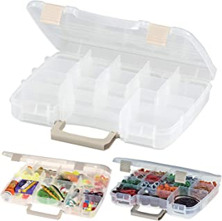 Pearl Enterprise Plastic Satchel Utility Box, Tackle Box Storage Container Multiple Sections Organizer, Plano Stowaway Case with Compartments and a Satchel Handle Size Medium