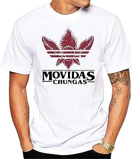 Camiseta Divertida Stranger Things Movidas Chungas. Camiseta 100% algodón de Color Blanco