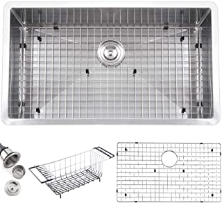 IKEBANA 32 Inch 18 Gauge Stainless Steel 304 Farmhouse Undermount Kitchen Sink, Single Bowl Brushed Nickel Kitchen Sinks With Strainers and Dish Grid
