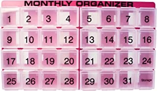 31 compartments, 1 per Day, 4 Week Monthly Pill Organizer by Promed. Includes Tray and 8 Removable compartments. (Fuchsia)