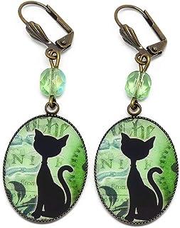 Orecchini retrò Steampunk gatto verde nero bianco ruote dentate ottone bronzo resina perle regalo Natale amico compleanno ...