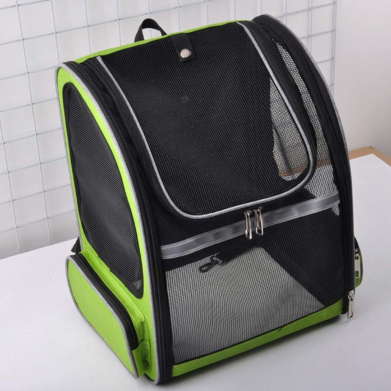 Full Net Pet Bag Breathable Pet Backpack Out Portable Cat Bag (color   Green)