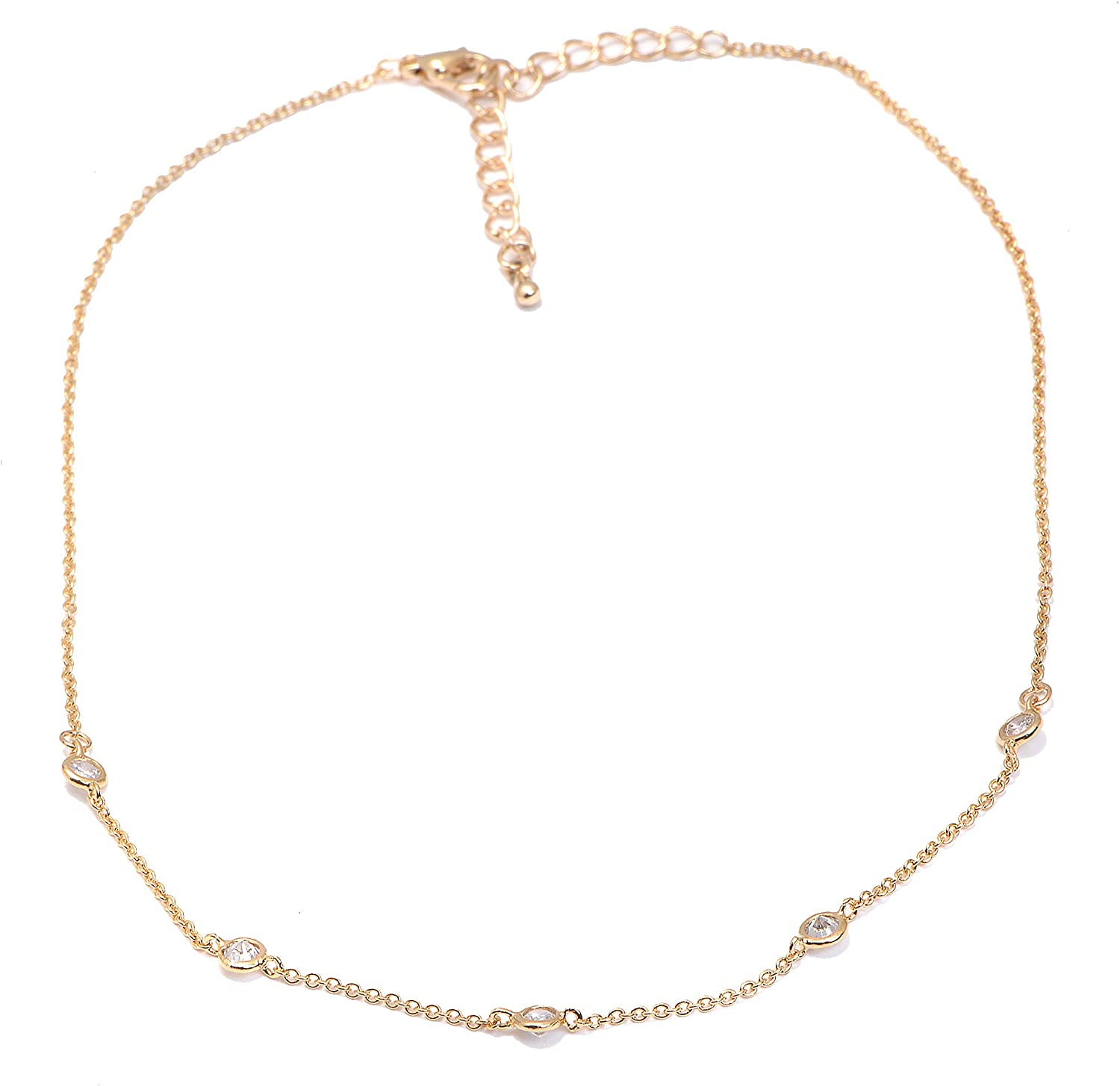 Spinningdaisy Crystal Accent Tiny Chain Satellite Choker Necklace